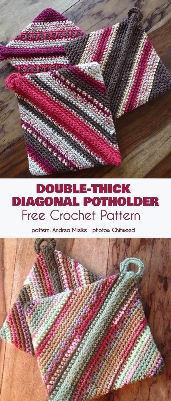Double-Thick Diagonal Potholder Free Crochet Pattern ...