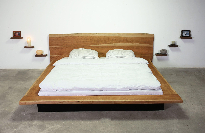 King size bed live edge american black cherry wood platform bed