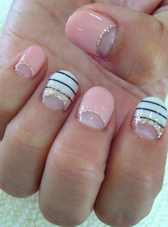 cute Half Moon Glitter Nails designs for wedding 2016 - Cute Half Moon Glitter Nails Designs For Wedding 2016 Half Moon