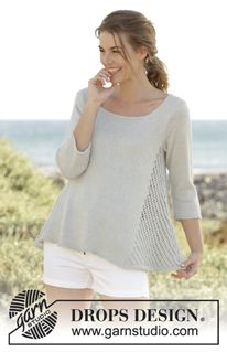 Venezia Top Knitted DROPS top with lace pattern in the