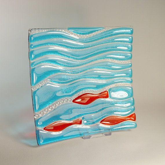 Fun Fishy Dishy in Fused Glass by HazelBunyan on Etsy, £42.00