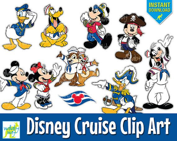disney cruise digital clip art with mickey minnie donald pluto instant download