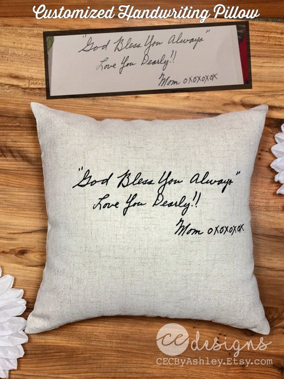 Handwriting Pillow In Memory Of Handwriting Etsy Handwriting Pillow Memory Pillows Handwriting Gifts