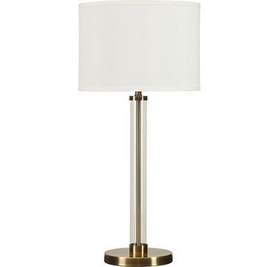 Thomasville Iona Table Lamp 30 5 Tall White Shade Glass Clear Brass Plate Lamp Table Lamp Thomasville