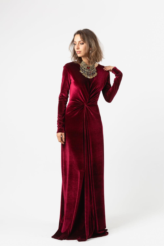 Oxblood Velvet Knot Dress in 2020 Knot dress, Velvet