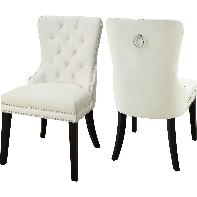 Nikki Dining Chair In Tufted Cream Velvet W Nailhead Trim Set Of