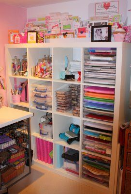 Craft room storage idea. do like the paper trays within the unit. - this looks like the Ikea expedit bookcase?