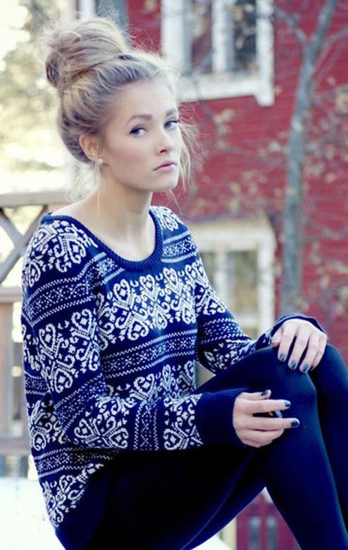 Comfy blue sweater and a bun but she looks like someone just ran ...
