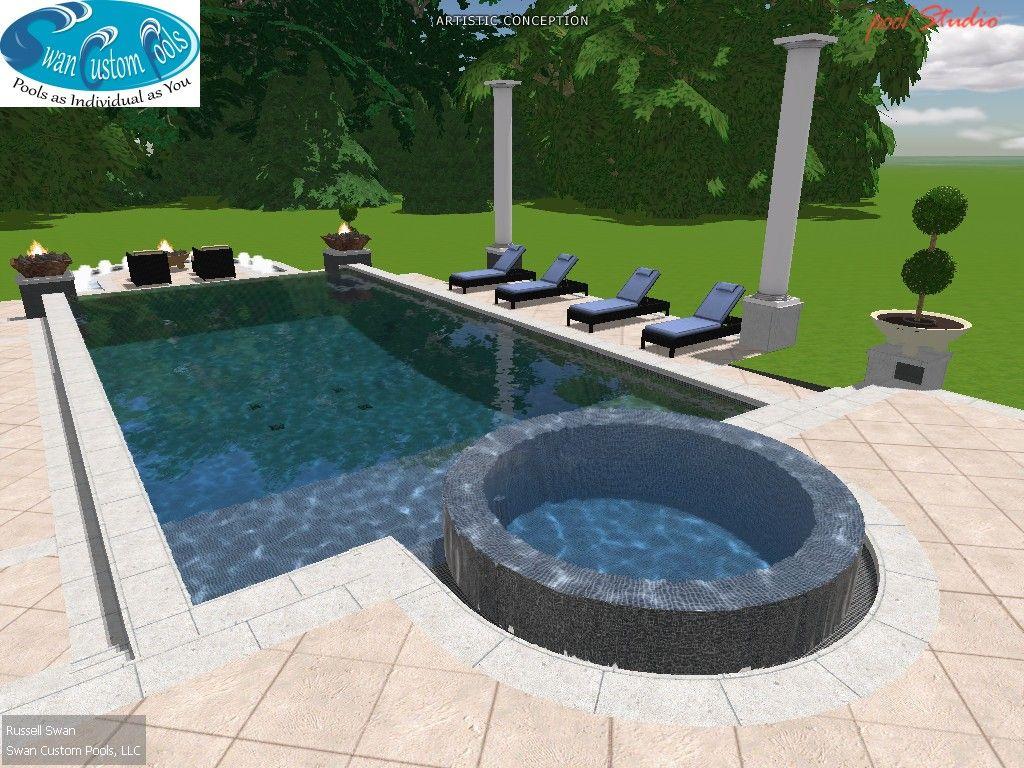 Negative edge spa formal swimming pool swimming pool for Pool negative edge design