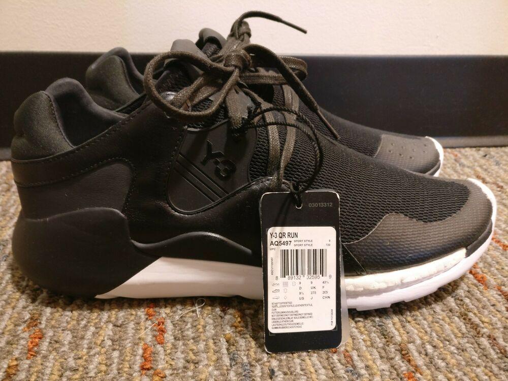 ef5de6306e11d Adidas Y-3 Yohji Yamamoto QR Run Boost Sneakers Black White Sz 9.5 aq5497