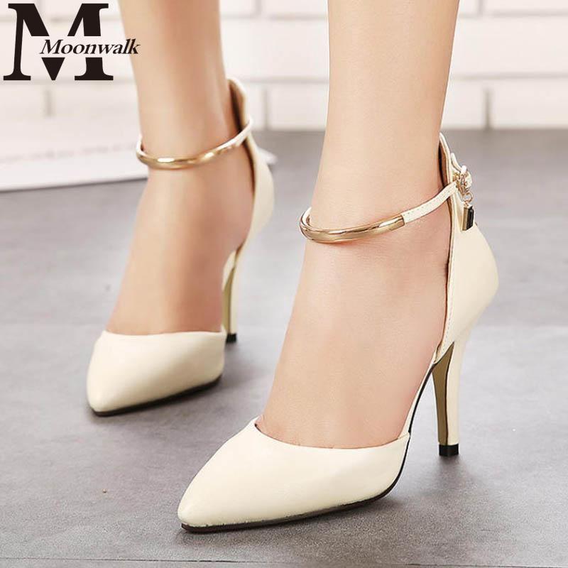 126b704c052c MOON WALK 2015 Summer style Pointed Toe Women Pumps Patent Leather High  Heels Sexy Rivet Ladies Wedding valentine shoes J4020