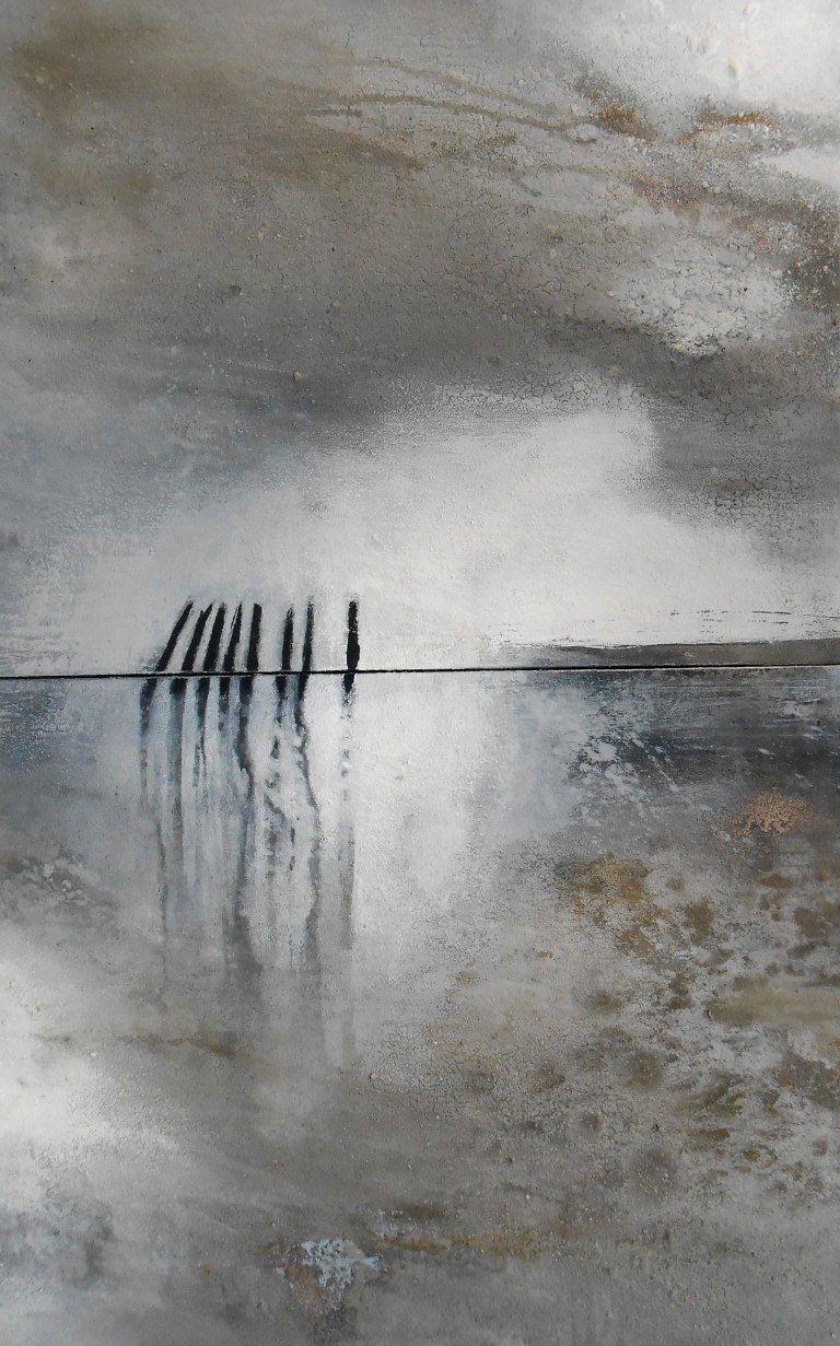 Dänemarks Norden..große abstrakte Gemälde, schwarz, weiß grau, Kunst