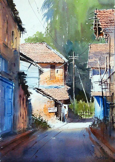 Artist Vilas Kulkarni B1967 Karnataka India Watercolor With