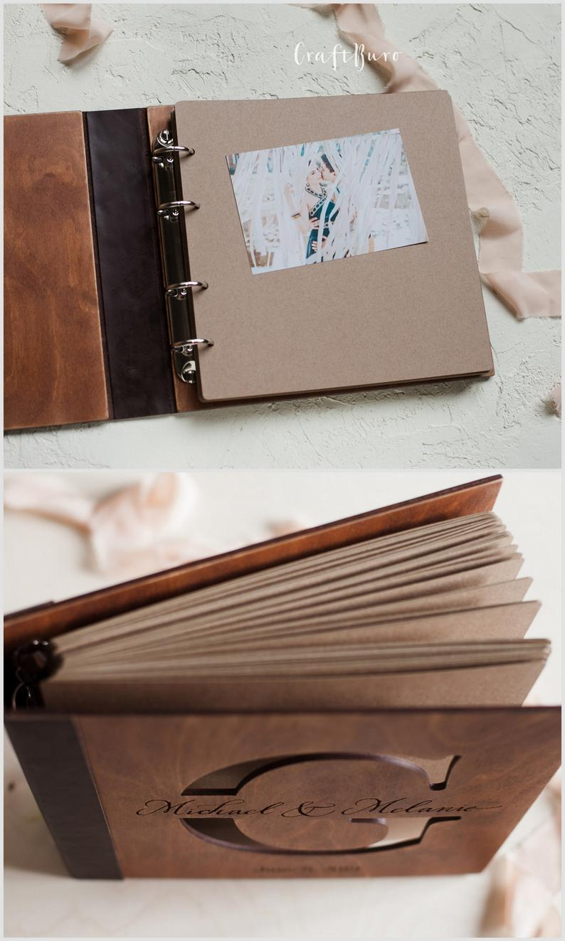 Couple Family Personalized Photo Album Leather Custom Gift for Anniversary Wedding