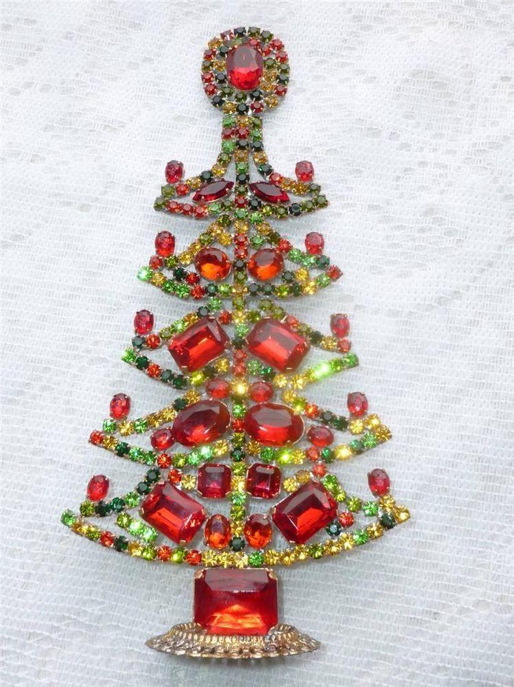 Amazing Vintage Mulicolor Czech Rhinestone Christmas Tree Standing Jewelry Christmas Tree Crystal Christmas Tree Christmas Bling