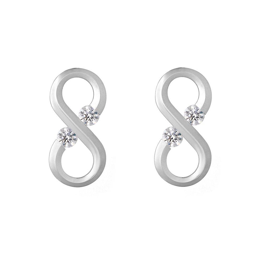 Betteridge Collection Infinity Symbol Stud Earrings With Diamond