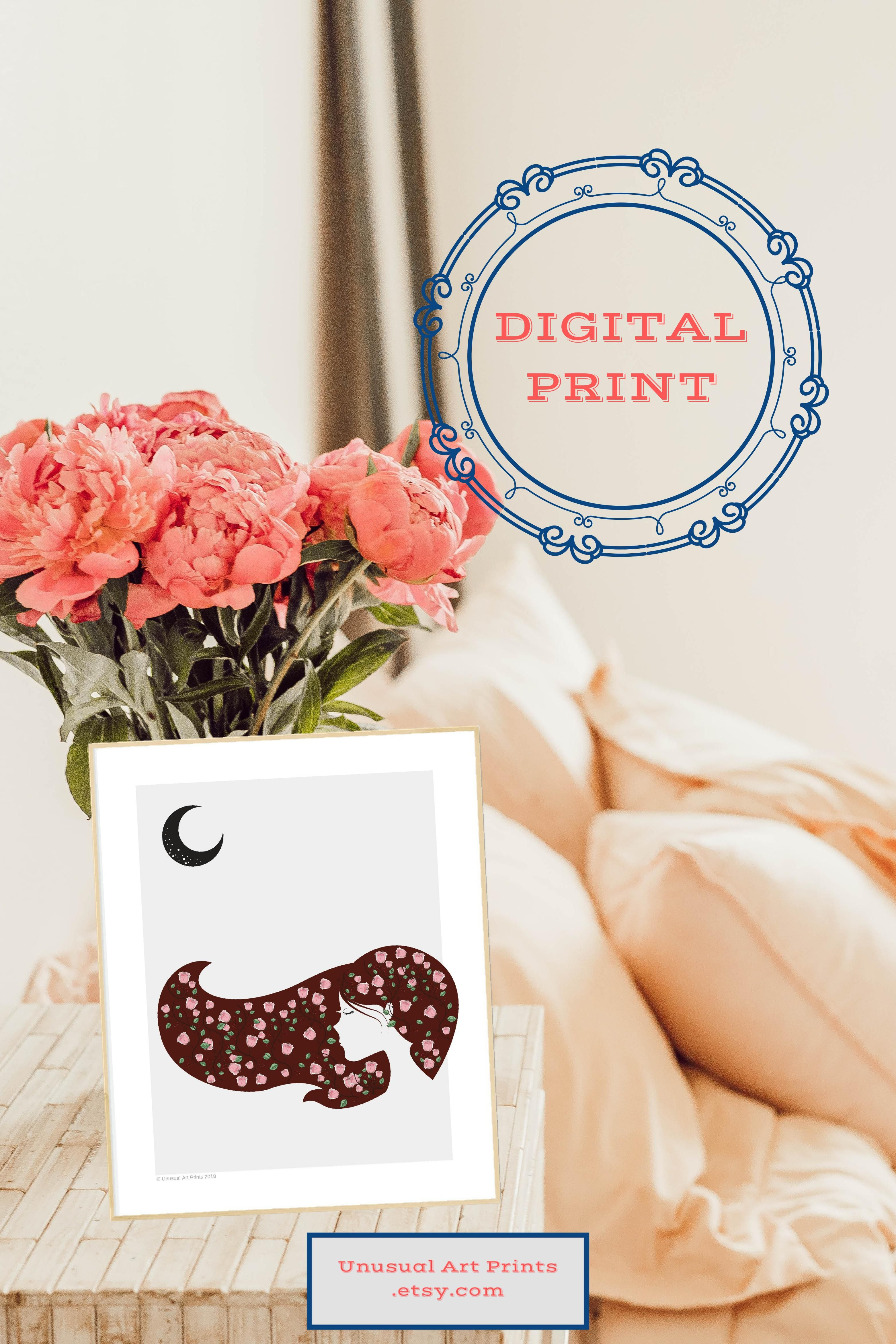 Printable woman silhouette art vintage flower baby pink blossom