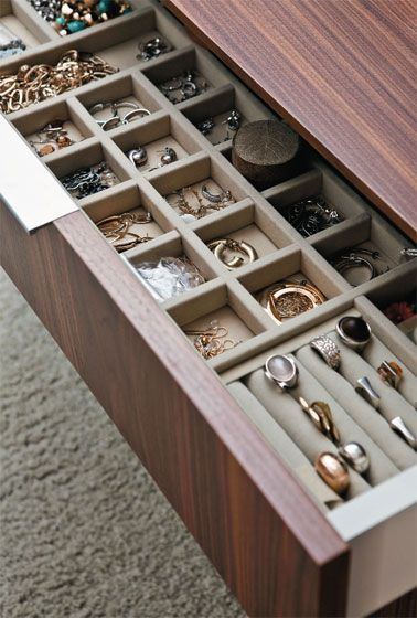 jewelry storage - velvet lined drawers with dividers #closet