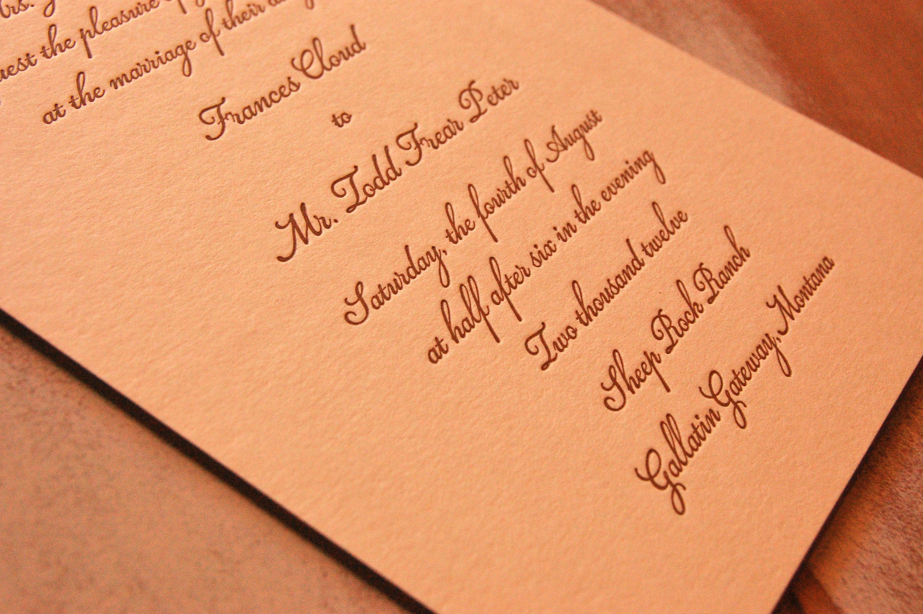 Wedding Invitations William Arthur: Letterpressed William Arthur Invite With Hand-painted