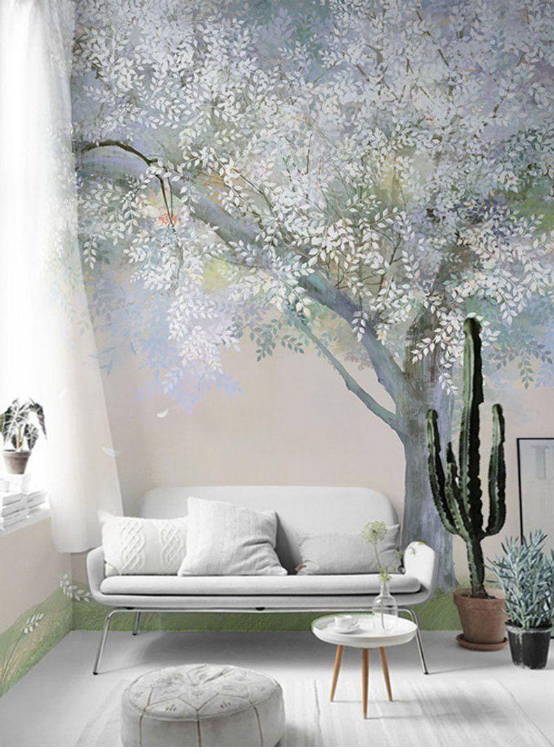 Tree Design Wallpaper Living Room: European Simple Creative Abstract Wallpaper Wall Murals