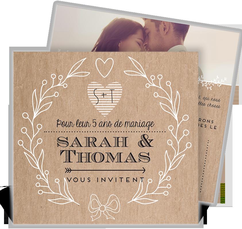 Invitation Anniversaire De Mariage Pour Vos 5 Ans Damour Et