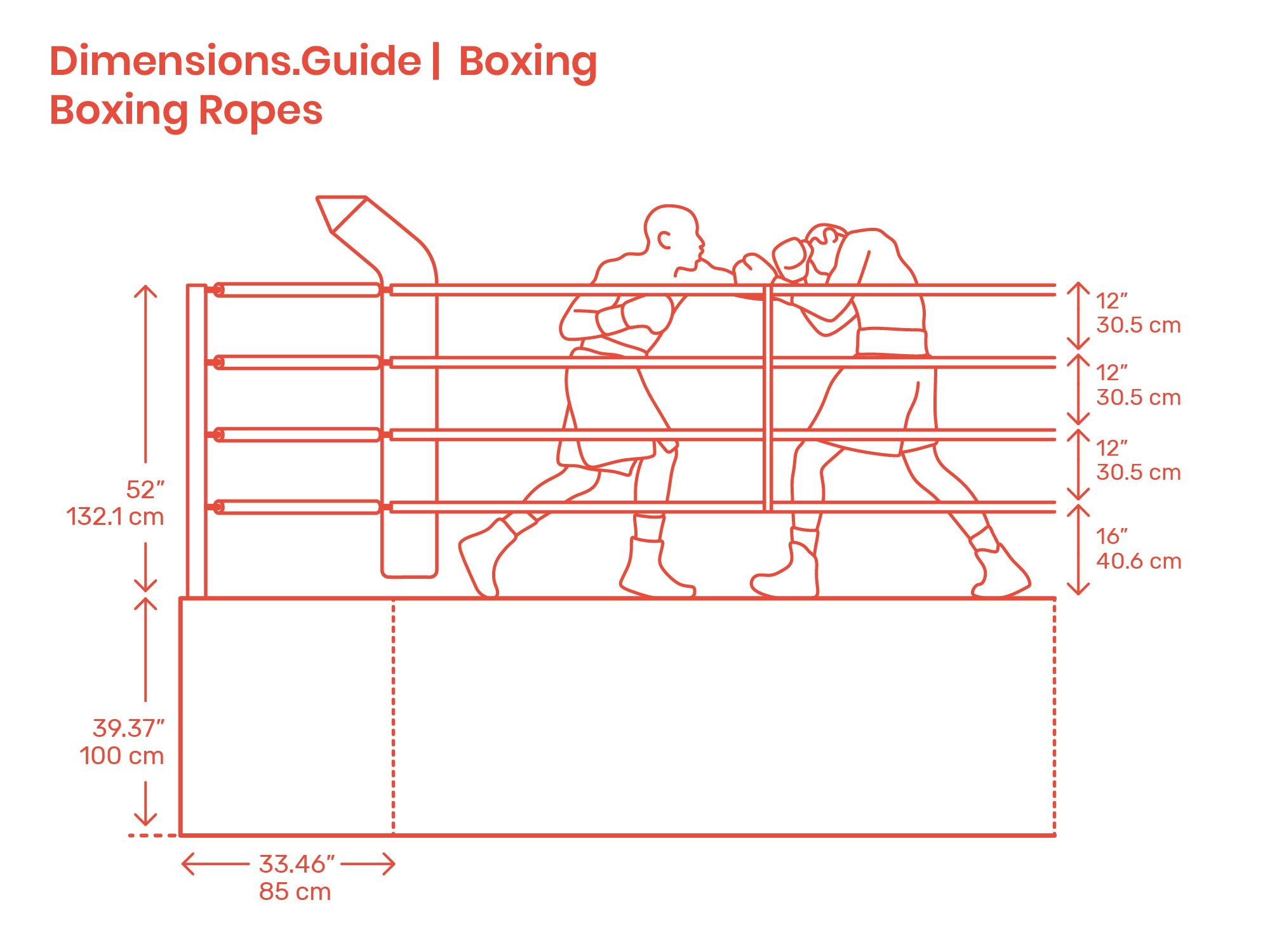 Boxing Ropes Box Boxing Rings Technical Drawing