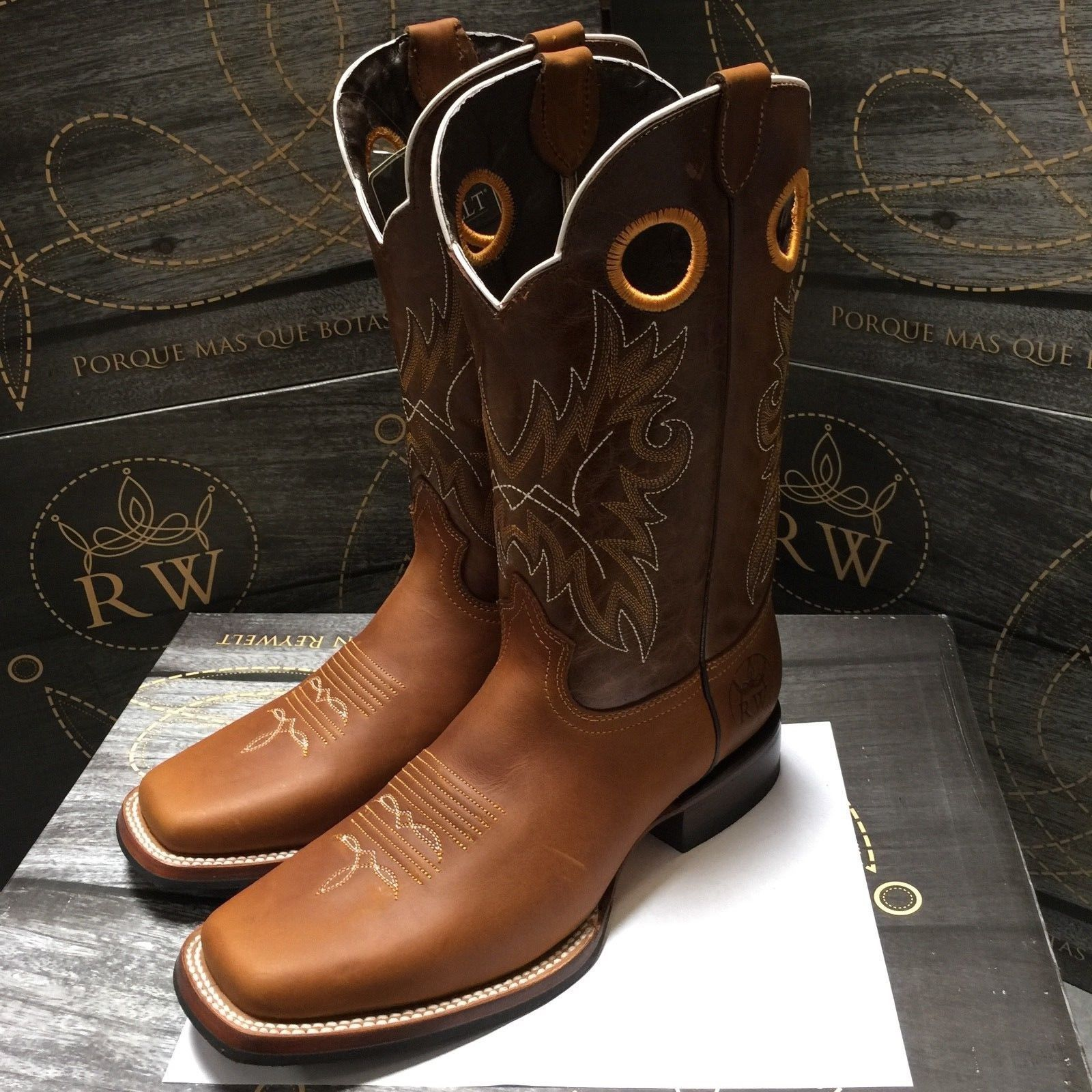 Men S Rodeo Cowboy Boots Genuine Leather Western Square Toe Boots Light Brown 85 99 End Date 2019 01 0 Light Brown Cowboy Boots Cowboy Boots Square Toe Boots