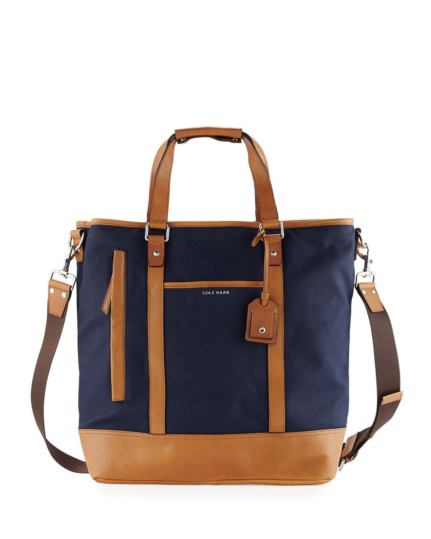 12c5b750358 Cole Haan Leather-Trim Canvas Tote Bag, Navy, Men's, Nvy | *Handbags ...