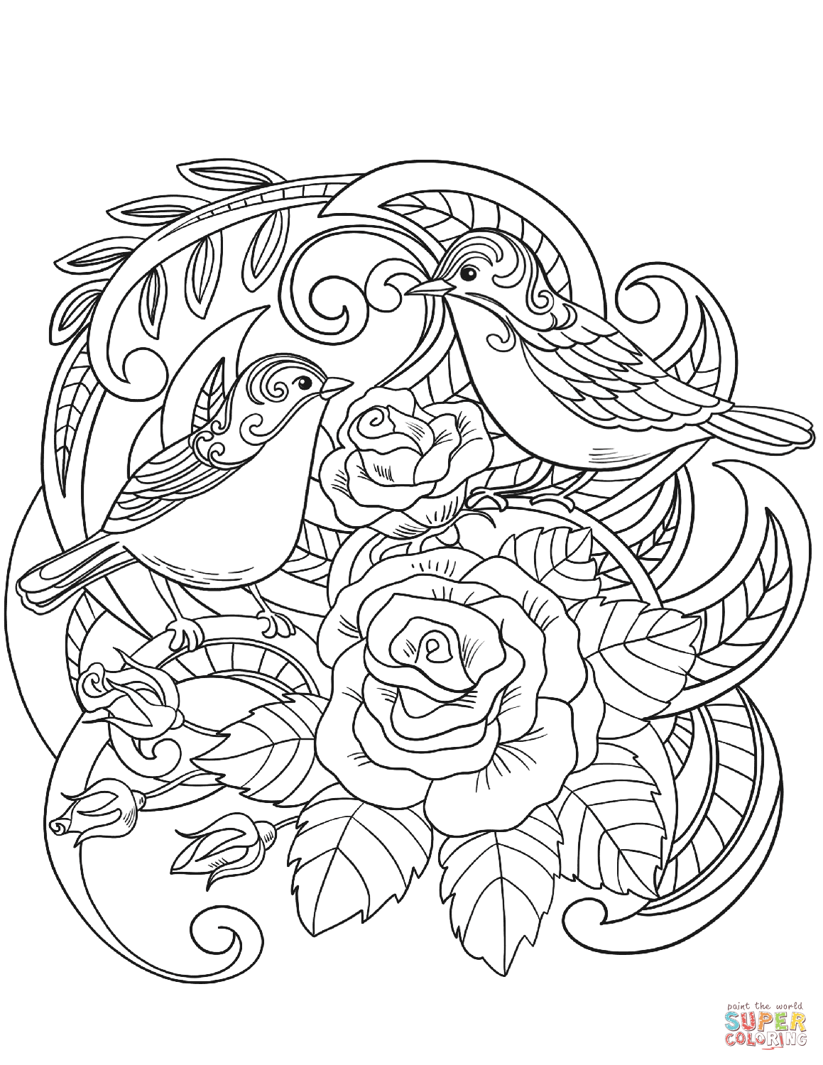 House Sparrow In Flowers Coloring Page Png 1 159 1 500 Pixels Coloring Pages Free Printable Coloring Pages Free Coloring Pages