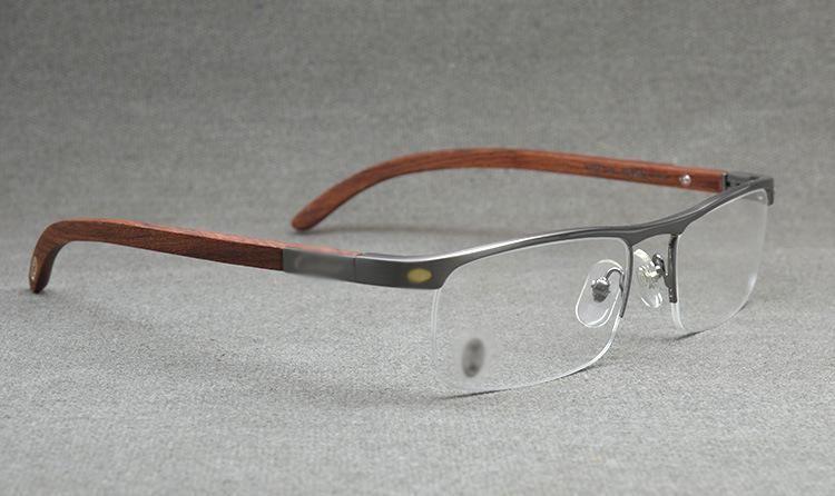 57f80ae88b2 Online Shop Top Quality Gold Wood Eye Glasses Frame Men Brand Eyeglasses  Optical Eyeglass Frames Half Rim Wooden Prescription Eyewear