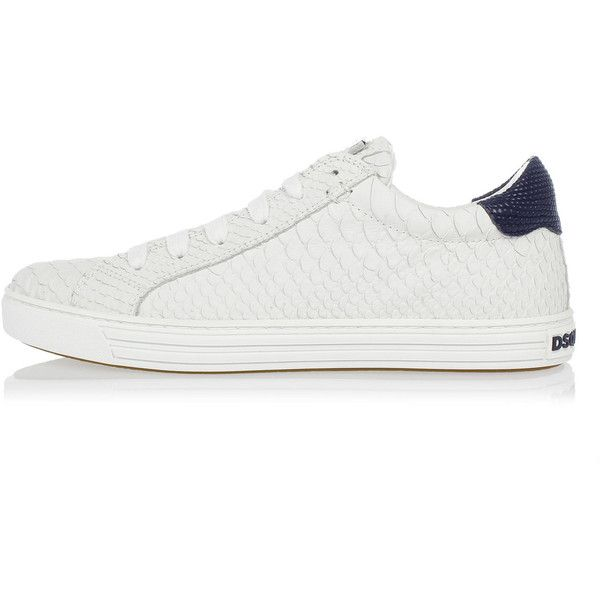 c64b5bdec2 Dsquared2 Leather Printed snake Skin Tennis Sneakers ($305) ❤ liked ...