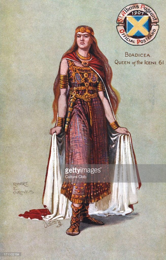 4417a78e9 Boadicea (also Boudicca or Boudica), Queen of the Iceni.(1st century).  Original illustration by R.E Groves. 1907 St. Albans Pageant official  postcard.