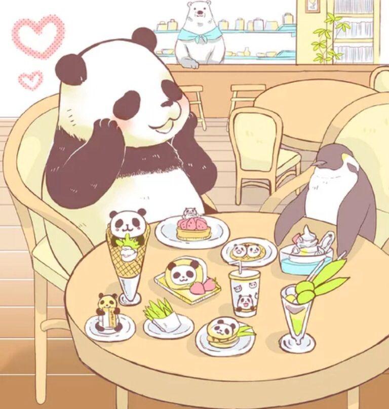 しろくまカフェでパンダくんとペンギンさんがお茶をする壁紙