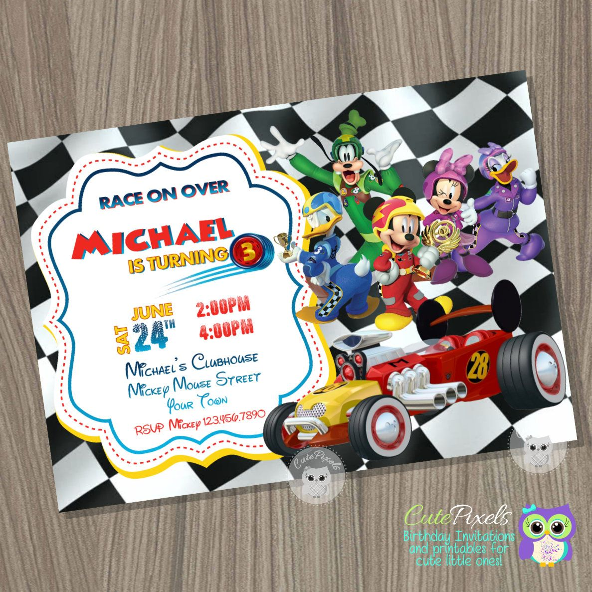 Mickey Mouse Roadster Racers Invitation Mickey and the Roadster