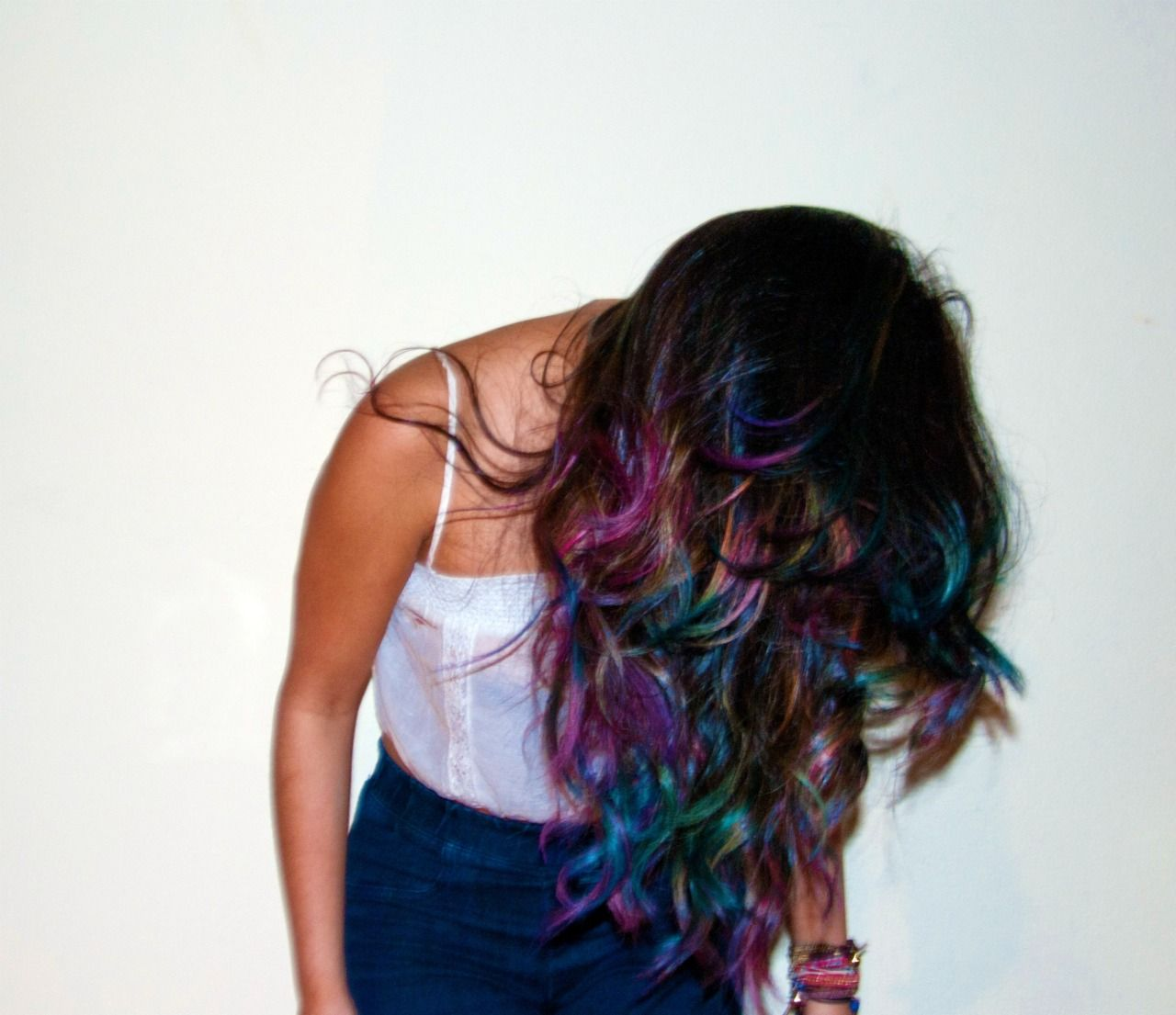 Rainbow hair dye purple pink blue and green hair pinterest