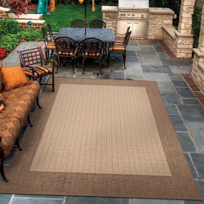 recife checkered field natural/cocoa outdoor rug by couristan
