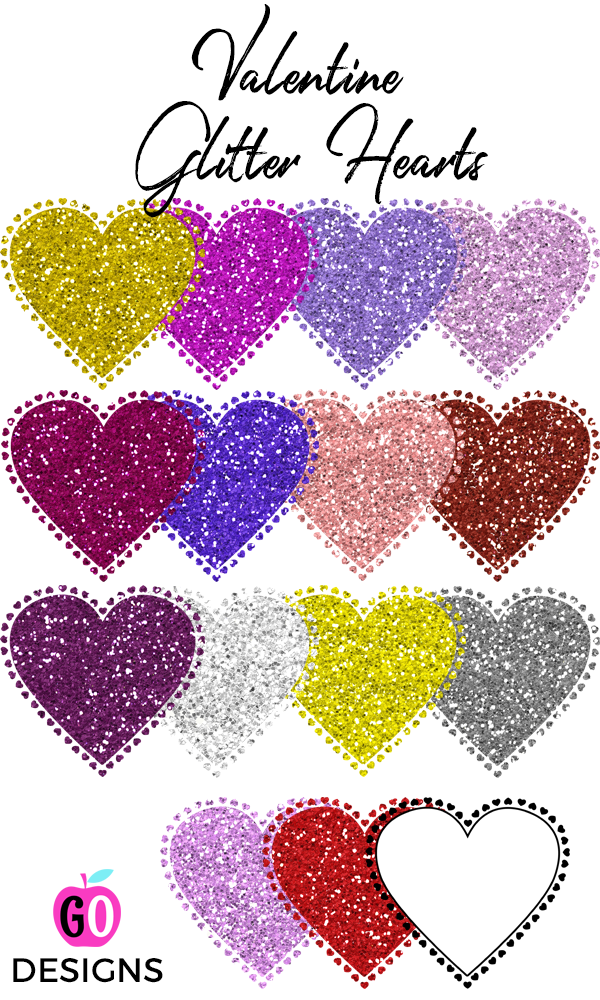 Glitter Hearts Clip Art Rainbow Colors CU Okay | Heart ...