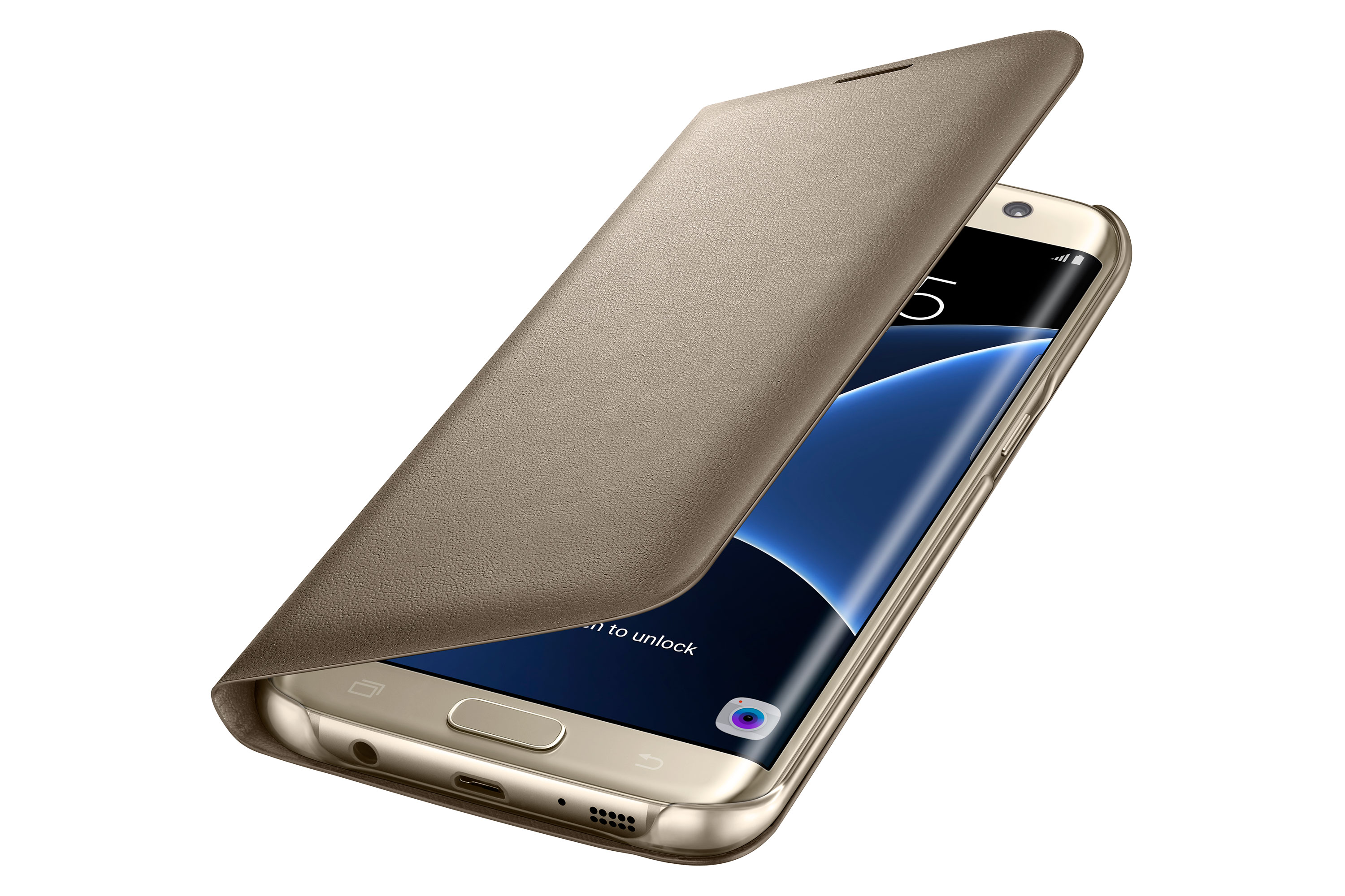 Samsung Durable Galaxy S7 Edge LED Flip View Cover, Gold