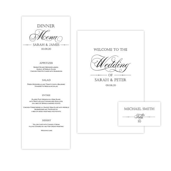 Place Card Template Menu Card Template And By YourWeddingTemplates - Menu place cards template