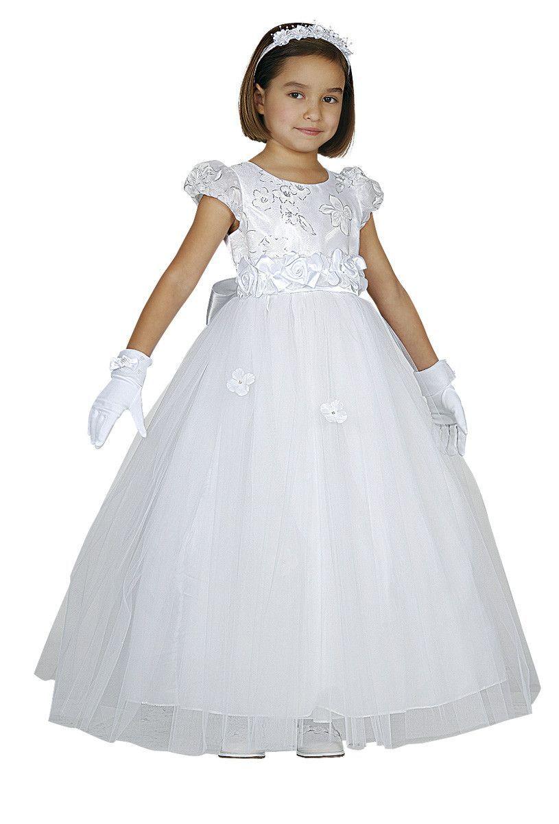 Long White Flower Girl Dresses With Rose Details White Flower Girl Dresses Flower Girl Dresses White Flower Girl Dresses Princesses [ 1200 x 815 Pixel ]