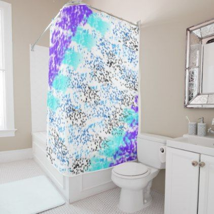 Sponge Print Blues Purple Black Shower Curtain Zazzle Com Pink