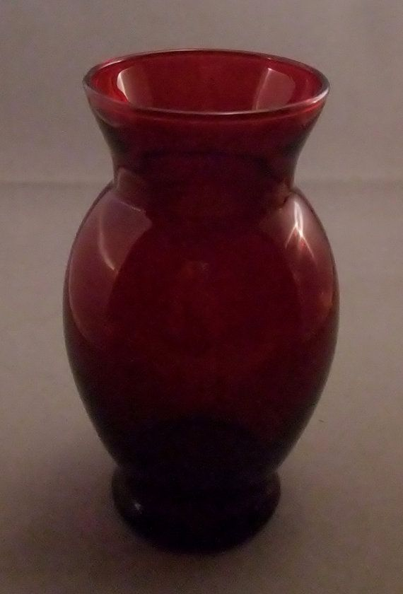 Vintage Ruby Red Vase By Anchor Hocking Nt This Interesting
