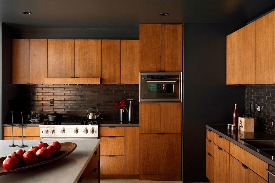 Mid Century Modern Style Kitchen With Wood Grain Slab Cabinets, Chocolate  Iridescent Subway Tile