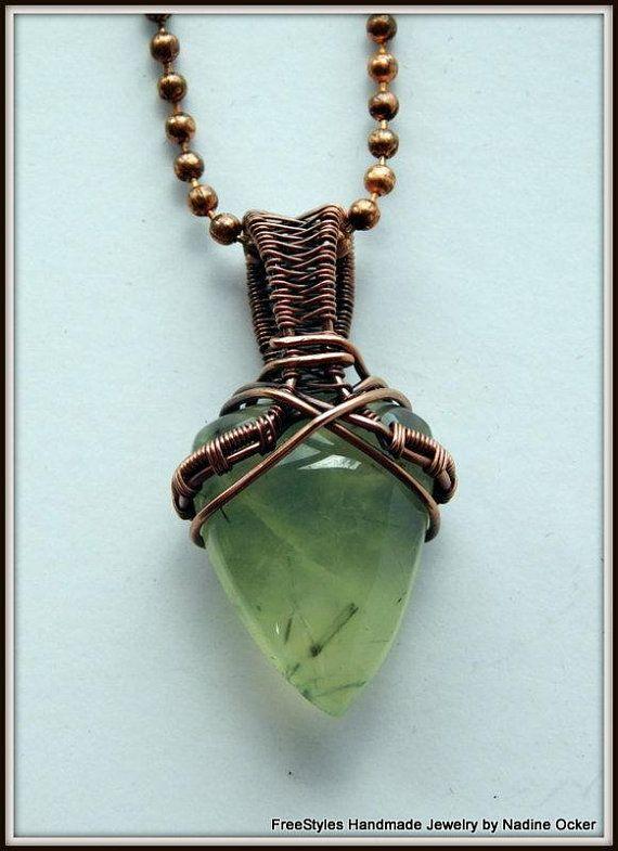 Green Prehnite Stone Pendant Wire Wrapped Stone Necklace Copper