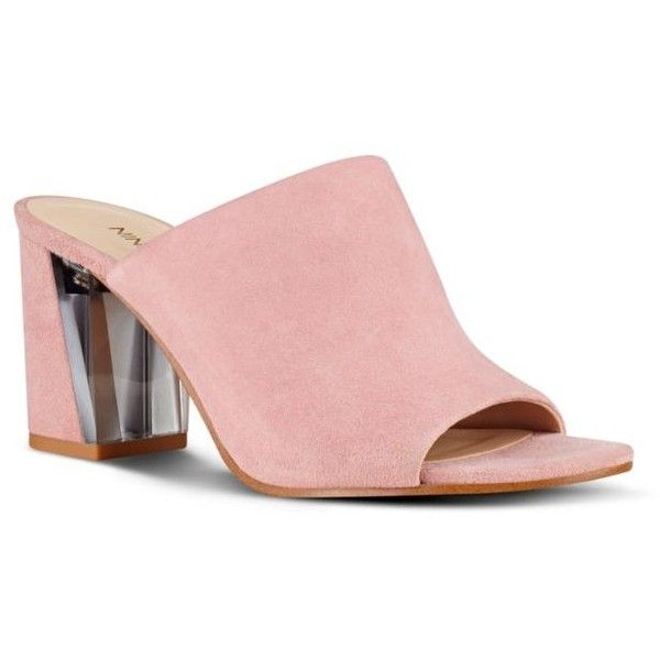 Nine West Light Pink Suede Emily Mules - Women's ($89) ❤ liked on Polyvore