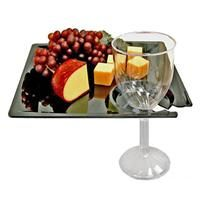 MSCTLBK 8.25 Inch Milan Square Black Cocktail Plates with Cup Holder