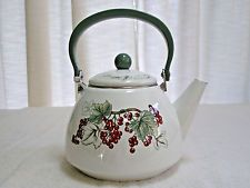 Vintage Charter Club Casuals 2 Qt. Enamelware Tea Pot Grapes Pear Taiwan
