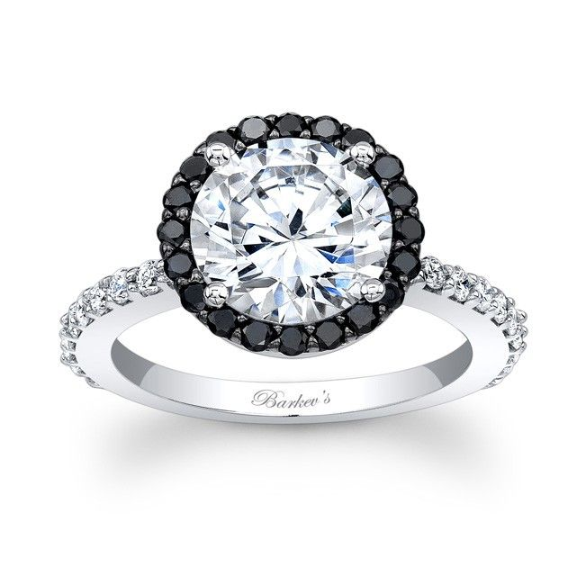 Barkev s Black Diamond Halo Engagement Ring 7839LBKW Barkev s Black