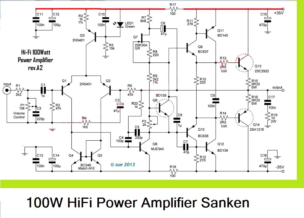 medium resolution of 100w hifi power amplifier circuit with sanken is more powerfull music fidelity power amplifier circuit