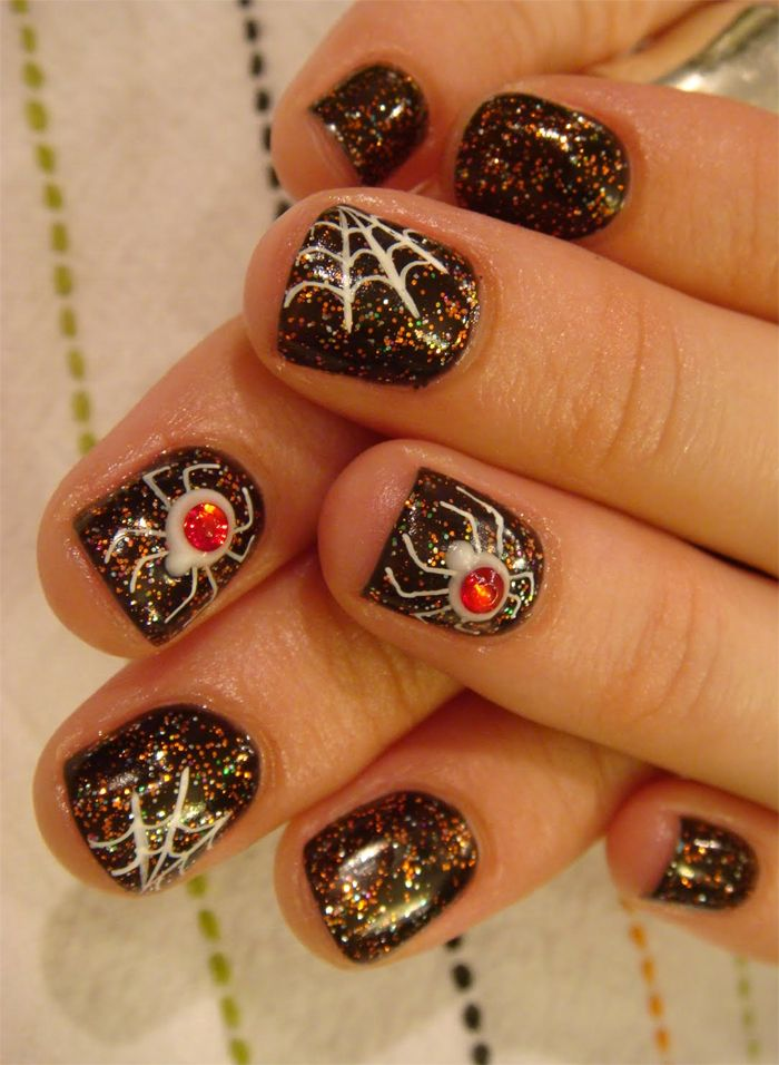 Spider Halloween Nail Idea...even though I hate spiders!!!! | Things ...